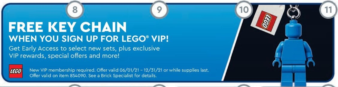 LEGO Vip Schlüsselanhänger Store Flyer Juli 2021