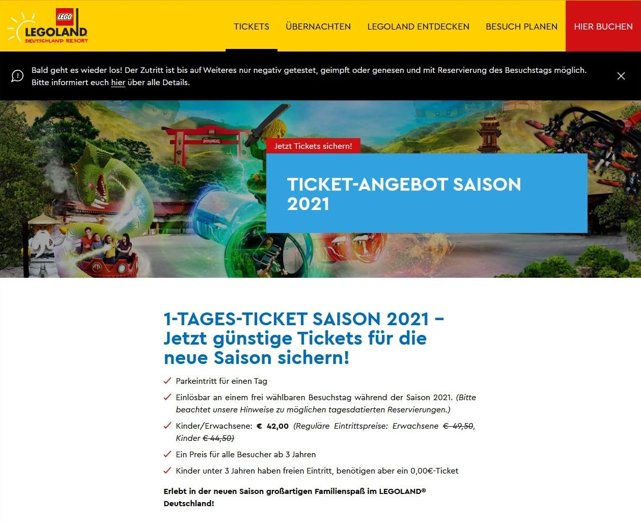 LEGOland Ticket Angebot Juni 2021