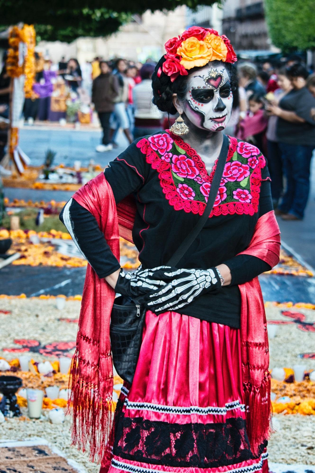 Dia De Muertos Traditionelle Schminke Und Kleid