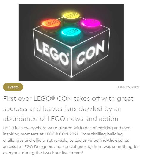 LEGO Con Pressemitteilung