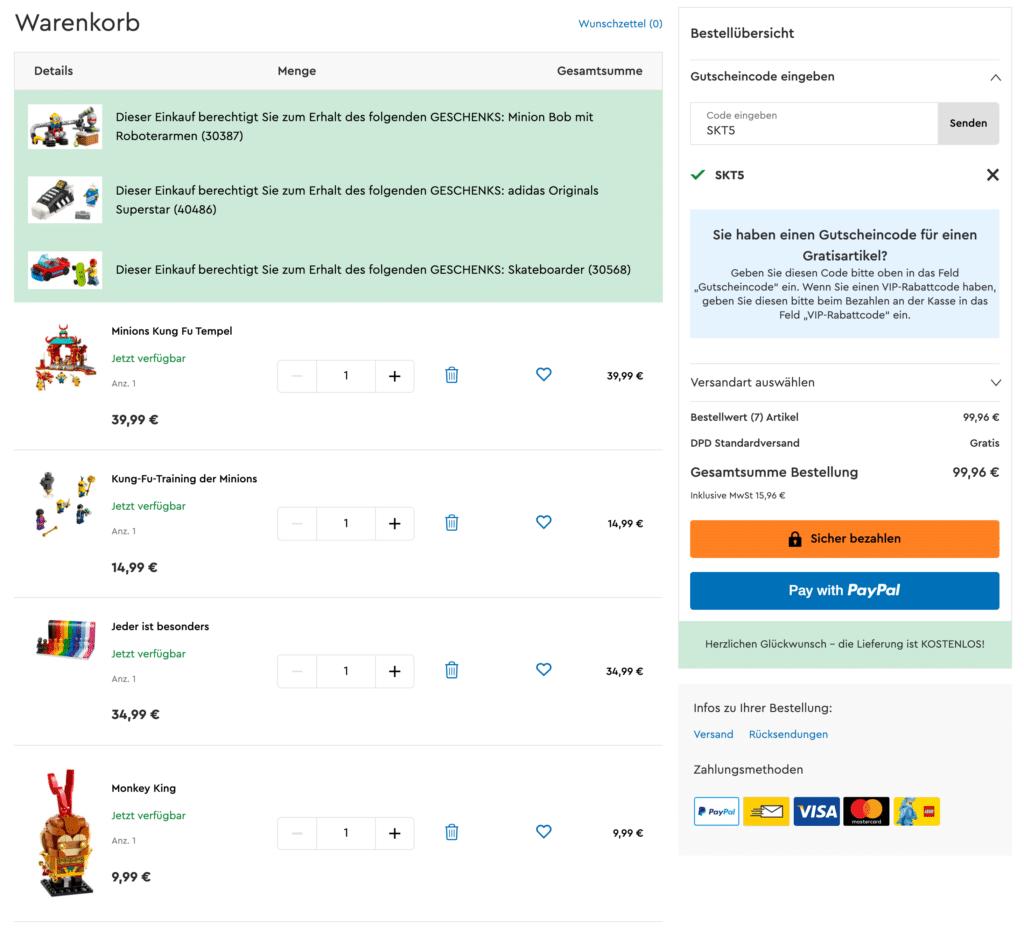LEGO Warenkorb Screenshot Gratisbeigaben Juli 2021