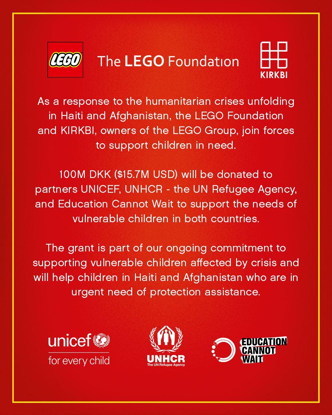 LEGO Foundation Spende Afghanistan Haiti