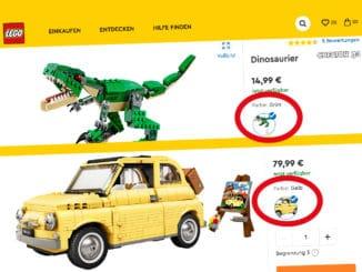 LEGO Onlineshop Farbvariationen